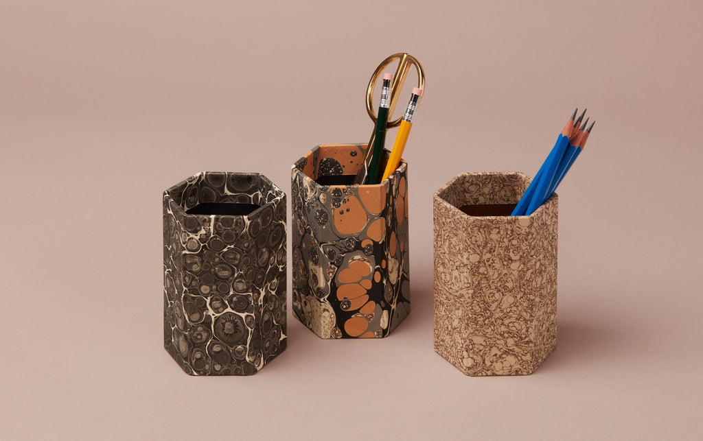 Hexagonal Marbled Pen Pot, Black Patterns