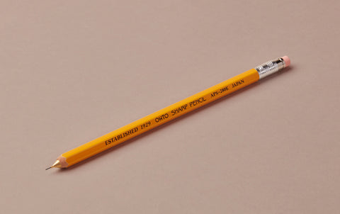 Yellow Ohto Japanese wooden barrel mechanical pencil