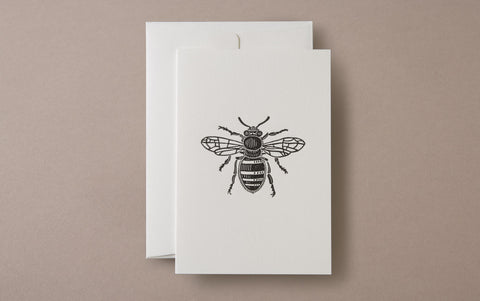 Linocut Print Bee Insects Greeting Card