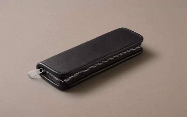 Black Small Leather Pencil Case