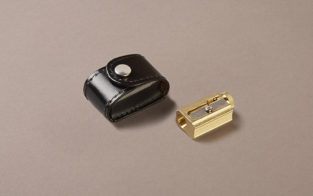 Brass Pencil Sharpener with Leather Case