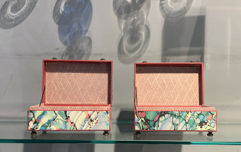 Ann Hepper Decorative Box, Pair of Marbled