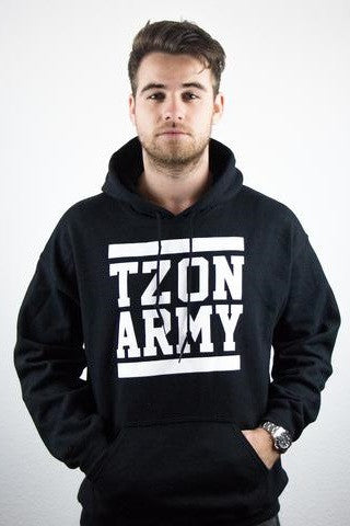TZON ARMY WHITE ON BLACK BLOCK HOODY (black)