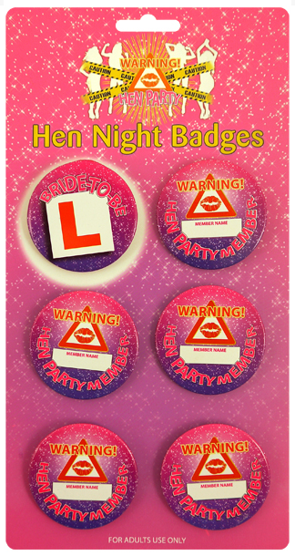 Badges - Pack of 6 - We love party bags