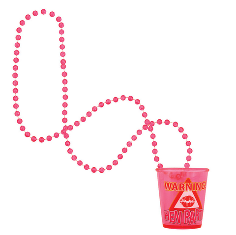 'Warning... Hen Party' shot glass necklace - We love party bags