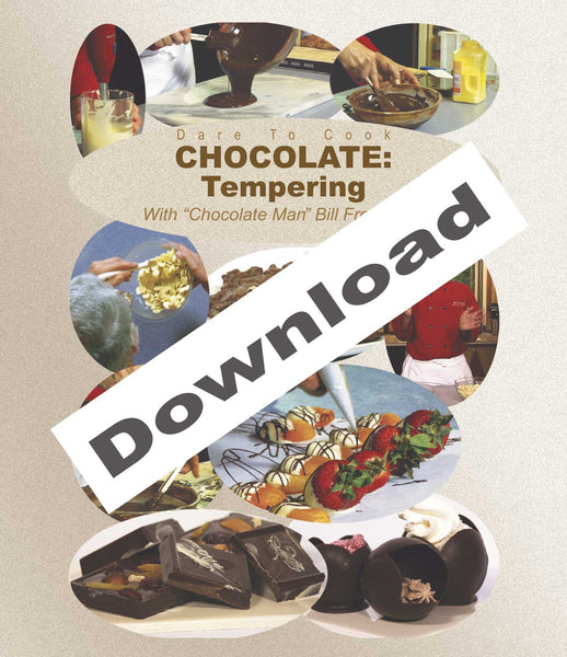 Download Dare To Cook Chocolate, Tempering w/ Chocolate Man Bill Fredericks to learn about tempering.