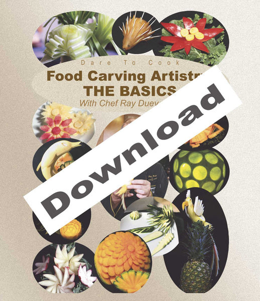 Dare To Cook Food Carving Artistry, The Basics w/ Chef Ray Duey shows several ways to carve more designs.