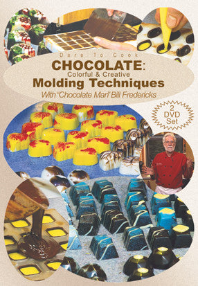 Bill Fredericks shares everything he knows about molding in Dare To Cook Chocolate, Colorful Creative Molding Techw/ Chocolate Man Bill Fredericks DVD