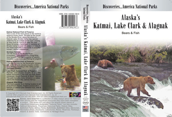Discoveries America National Parks, Alaska's KATMAI, LAKE CLARK, ALAGNAK covers the Alaskan territory with visits from bears, fish, and other wildlife.