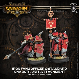 PIP33027	Khador Iron Fang Officer & Standard - Khador Unit Attachment