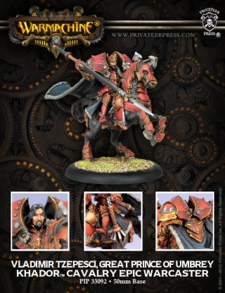 PIP33092	Vladimir Tzepesci, Great Prince of Umbrey - Khador Epic Cavalry Warcaster