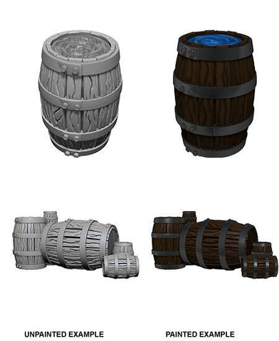 WizKids Deep Cuts Unpainted Miniatures Barrel & Pile of Barrels
