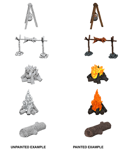 WizKids Deep Cuts Unpainted Miniatures Camp Fire & Sitting Log