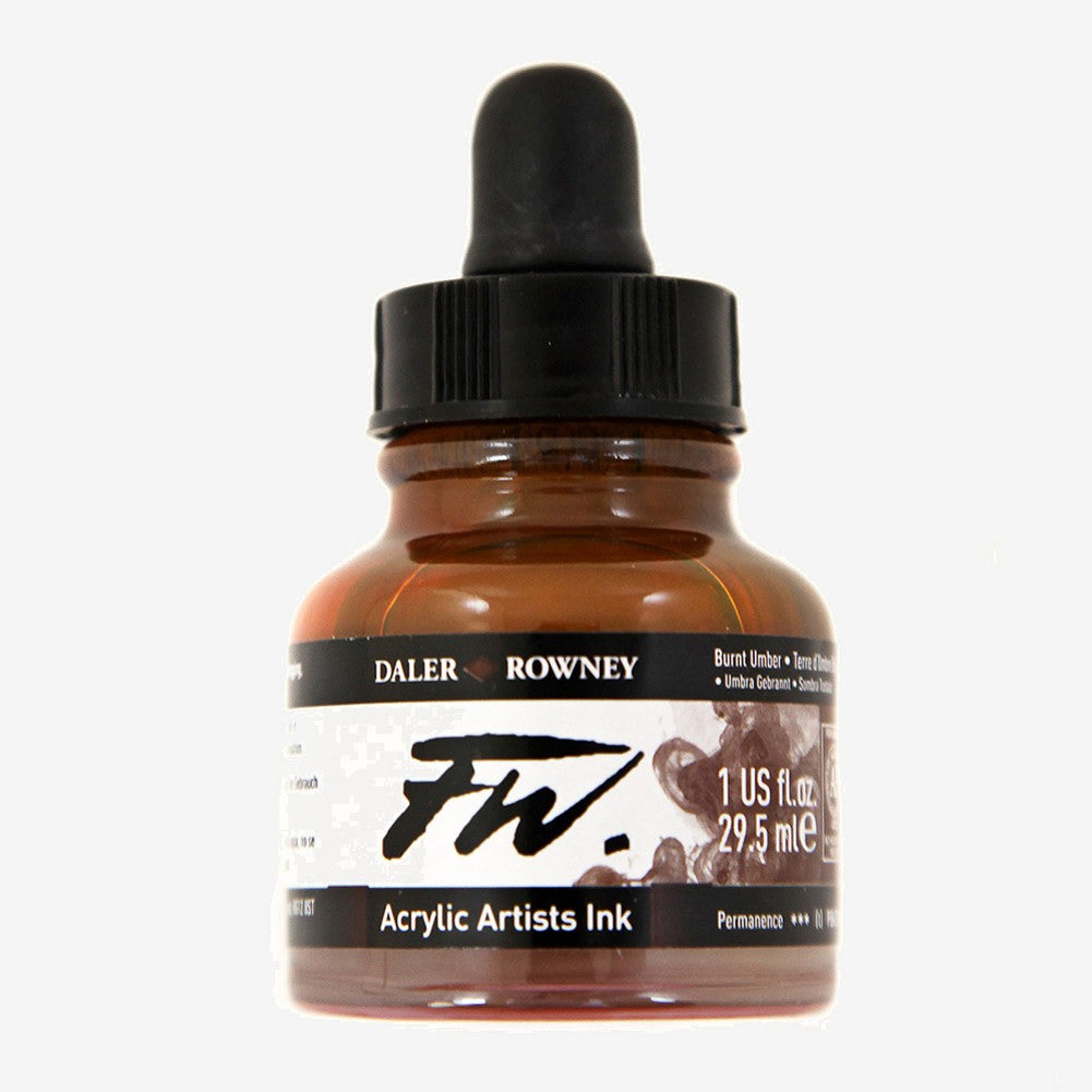 DALER ROWNEY : FW ARTISTS' INK : 29.5ML : BURNT UMBER