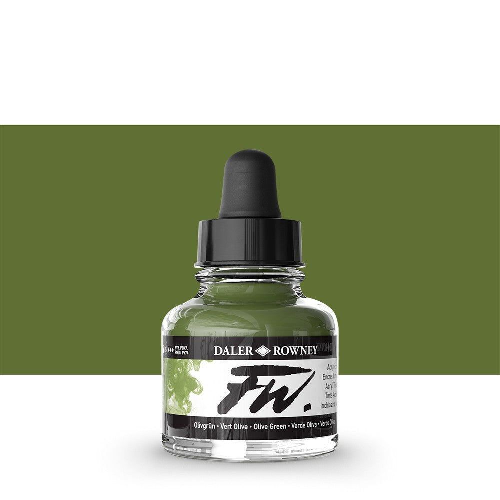 DALER ROWNEY : FW ARTISTS' INK : 29.5ML : OLIVE GREEN