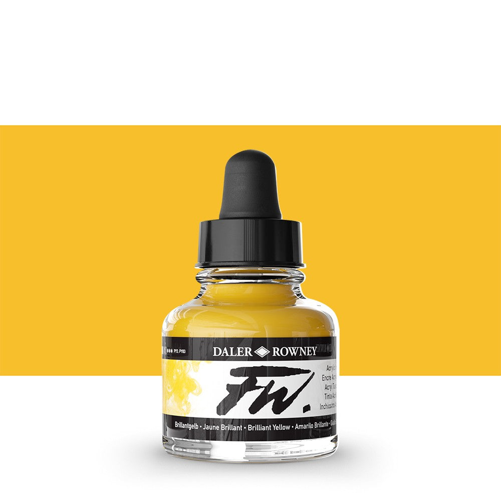 DALER ROWNEY : FW ARTISTS' INK : 29.5ML : BRILLIANT YELLOW