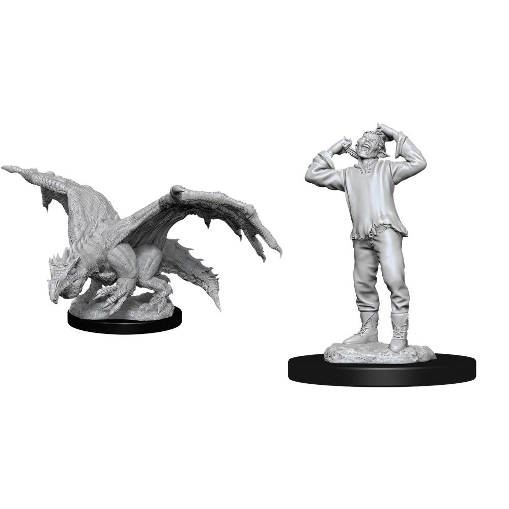 D&D Nolzurs Marvelous Unpainted Miniatures Green Dragon Wyrmling and Afflicted Elf