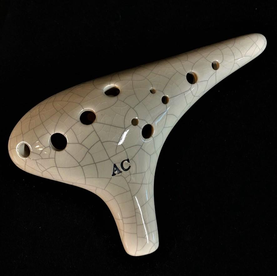 Sonoro Ocarina Alto C in White Crackle