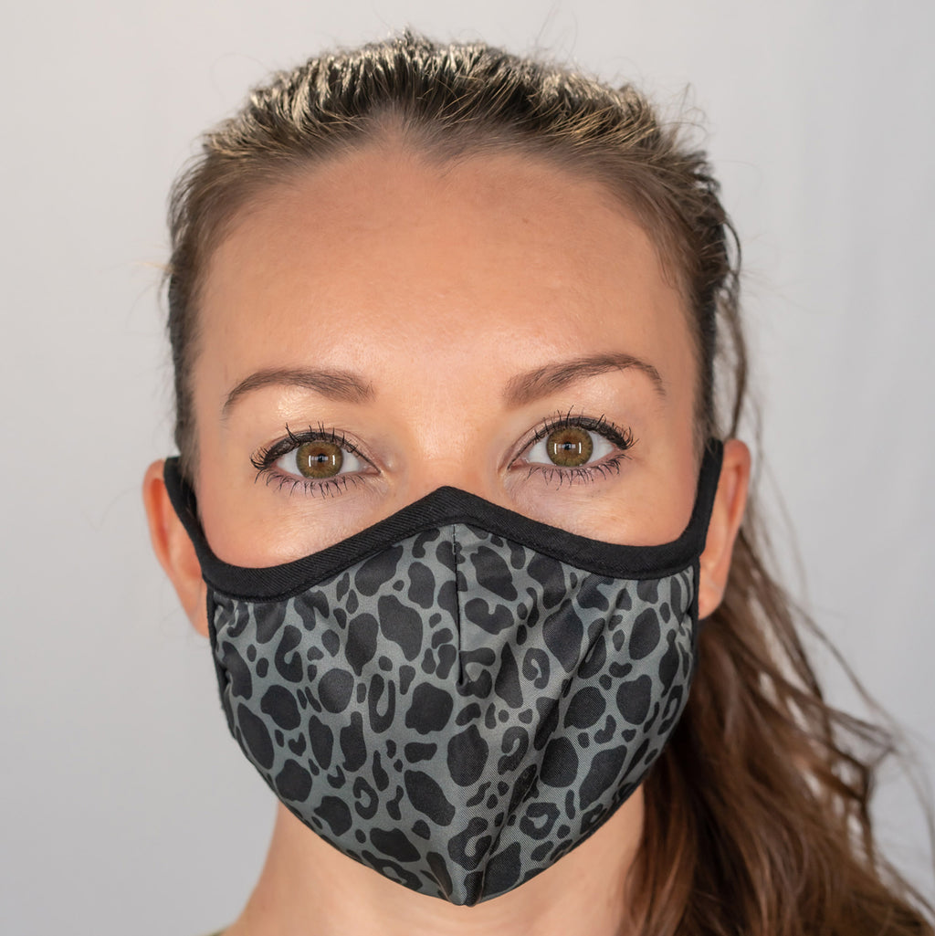 Easy Breather Washable Filtered Face Mask - Black Cheetah
