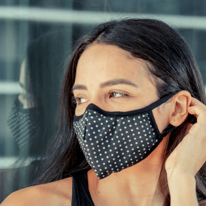 Easy Breather Washable Filtered Face Mask - Black with White Dots