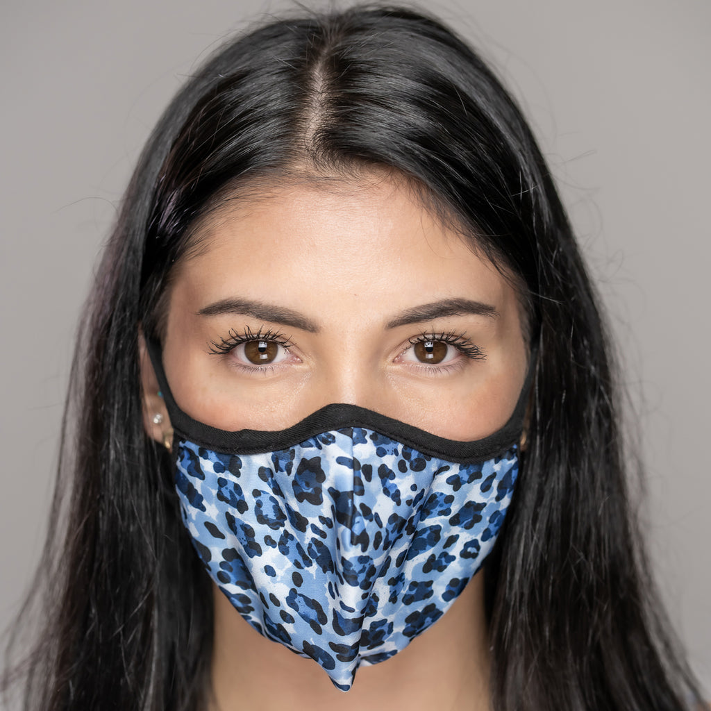Easy Breather Washable Filtered Face Mask - Blue Cheetah