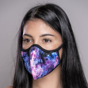 Easy Breather Washable Filtered Face Mask - Blue Purple Tie Dye
