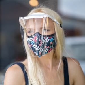 Easy Breather Washable Filtered Face Mask - Navy Blue Floral
