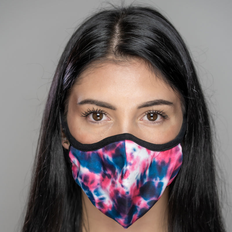 Easy Breather Washable Filtered Face Mask - Pink Blue Tie Dye