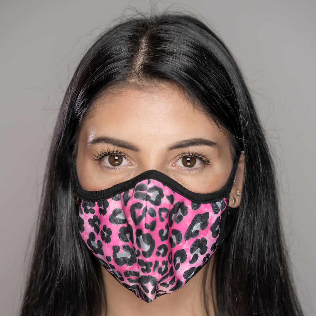 Easy Breather Washable Filtered Face Mask - Pink and Peach Cheetah
