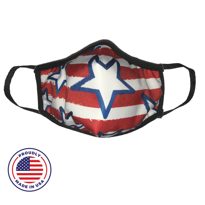 Washable Filtered Cloth Face Mask - Adult, Red Stars
