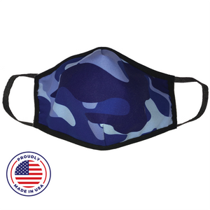 Washable Filtered Cloth Face Mask - Adult Blue Camo