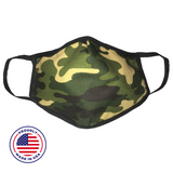 No Headache PPE, Face Mask - Green Camo - Front View