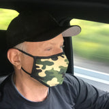 Washable Filtered Cloth Face Mask - Adult Green Camo