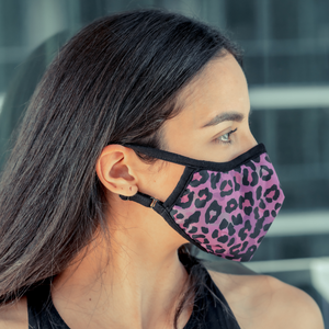 Easy Breather Washable Filtered Face Mask - Purple Cheetah