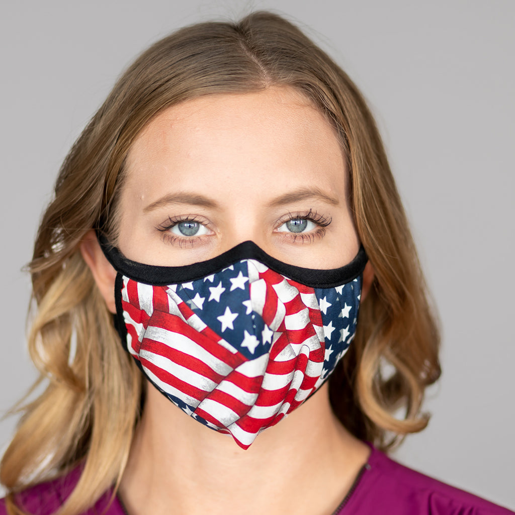 Easy Breather Washable Filtered Face Mask - American Flag