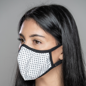 Easy Breather Washable Filtered Face Mask - White with Black Dots