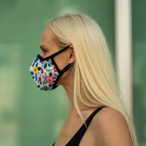 Easy Breather Washable Filtered Face Mask - White Floral