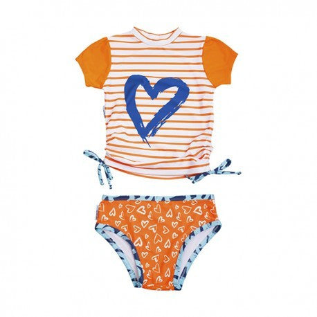 2 piece set - Orange Heart Rashie
