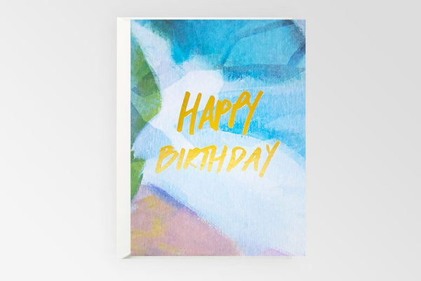 Happy Birthday Gold Foil Gift Card - Blue