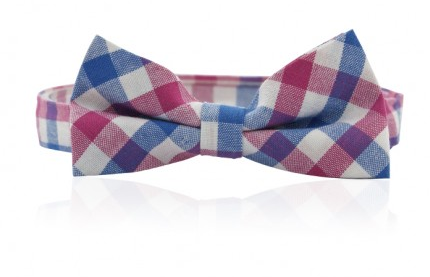 Pink/Blue Check Bow Tie