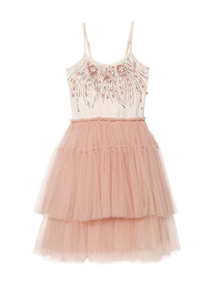CORAL CAROUSEL TUTU DRESS - MILK/ROSEWOOD