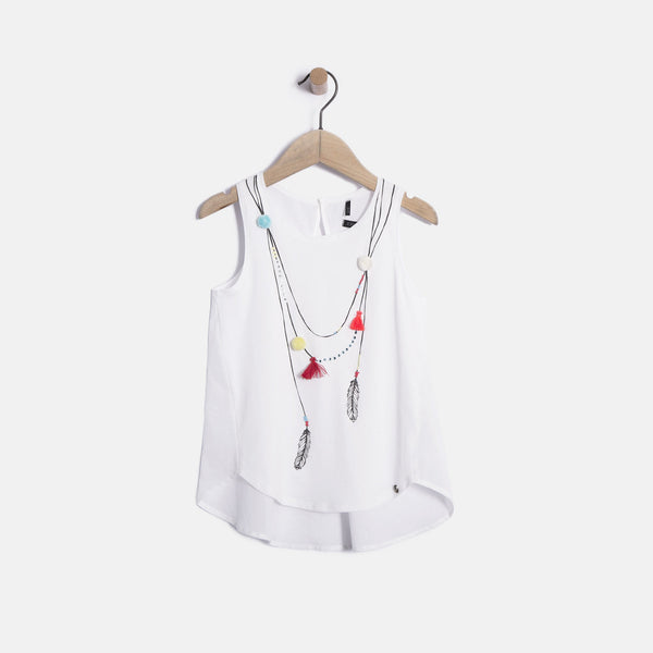 Ethnic Necklace White Top