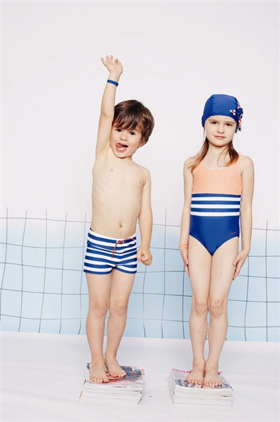 Boys Striped Swimming Trunks