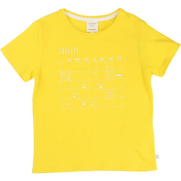 Juillet Calendar Yellow T-shirt