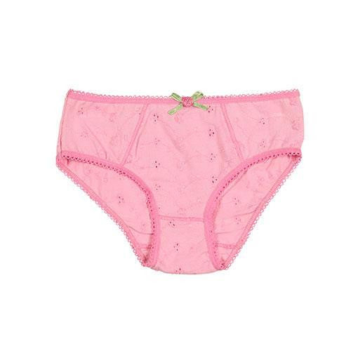 Girls Pink Embroidery Brief