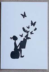 Butterfly Reading Paper Cuts Greeting Card