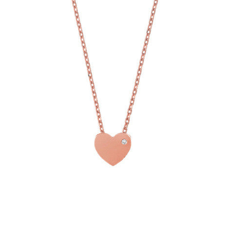 Heart Necklace w Diamond - Rose Gold
