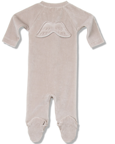 Pale Grey Velour Angel Wing Jumpsuit