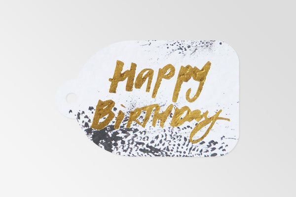 B&W Happy Birthday Gold Foil Tag