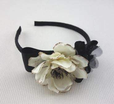 Black & Ivory Flower Headband